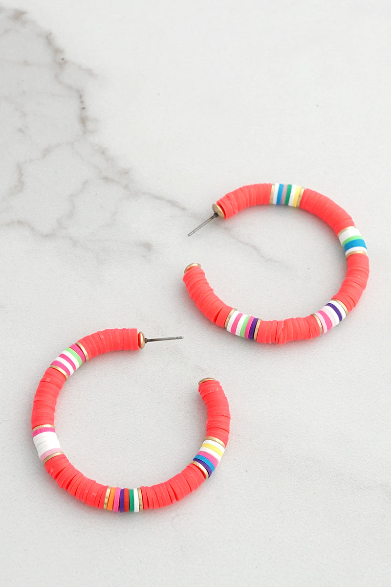 Colorful Hoops Discs Heishi Style Earrings
