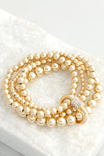 Carabiner Lock Gold Ball Beads Bracelet 4 in 1