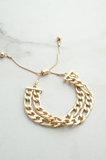 Double layer chunky chain pull tie Gold tone bracelet