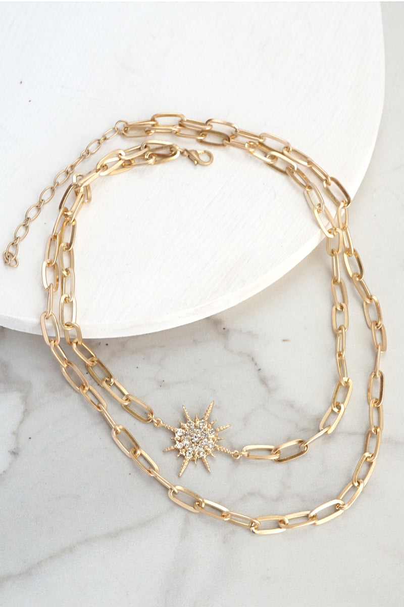 Layered Necklace Gold Starburst Crystals