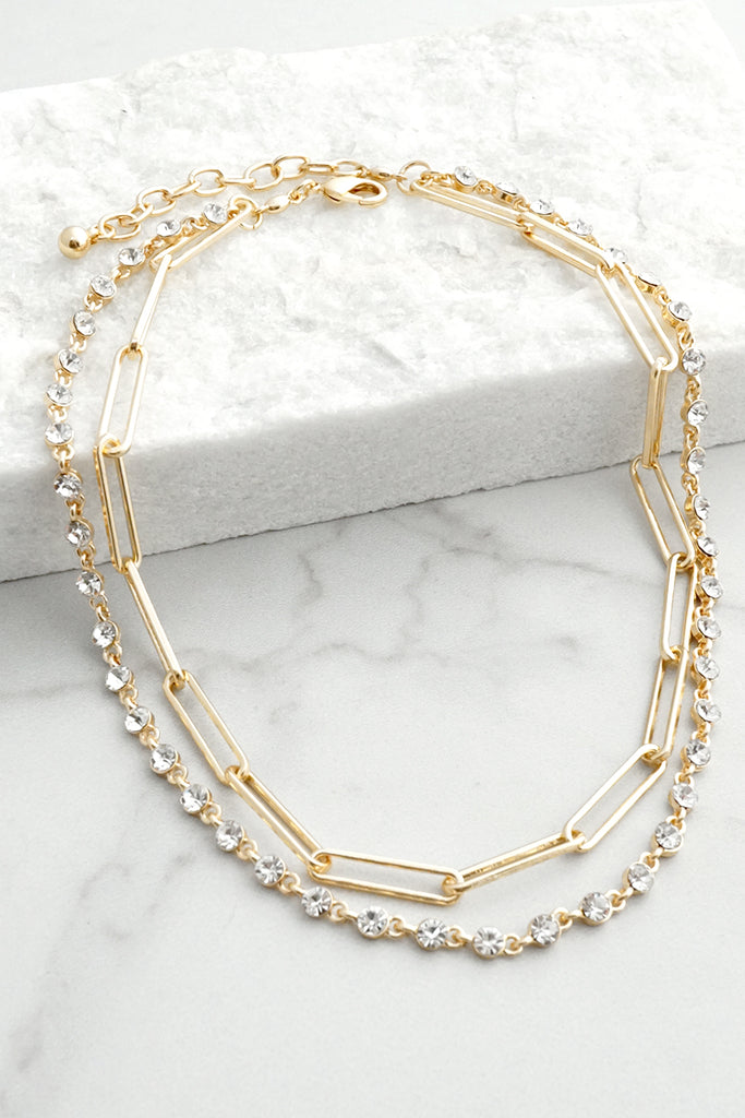Layered Clear Crystals and Chain Necklace