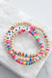 Breathe Rubber discs and wood beads Bracelets Set