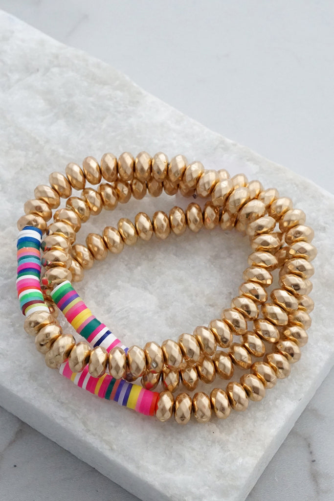 Rubber Metal beads Bracelets Set
