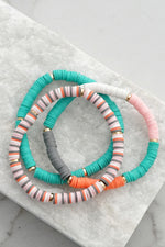 Rubber Disc Beads Boho Summer Bracelet Set
