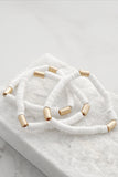 Rubber Disc Beads Boho Summer Bracelet Set in White