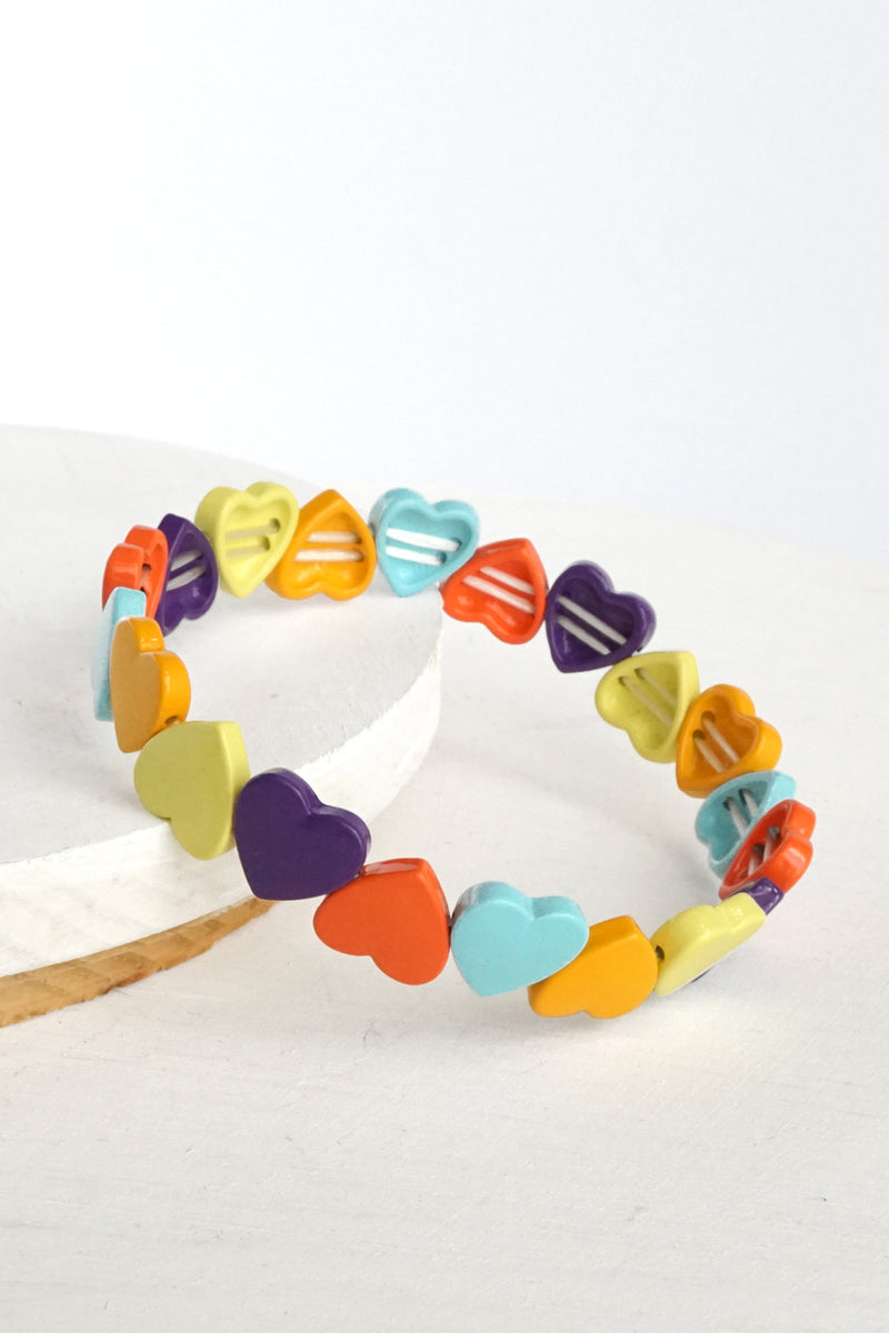Colorful Hearts Layering Bracelet