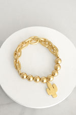 Chain and Beads Bracelet Cactus in Gold Tone