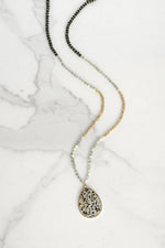 Beaded Necklace with Semi Precious Dalmatian Stone Pendant
