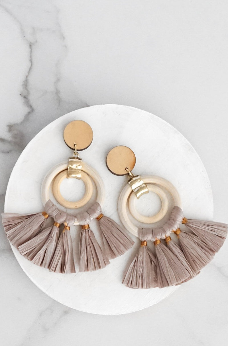 Raffia Fringe Earrings Brown