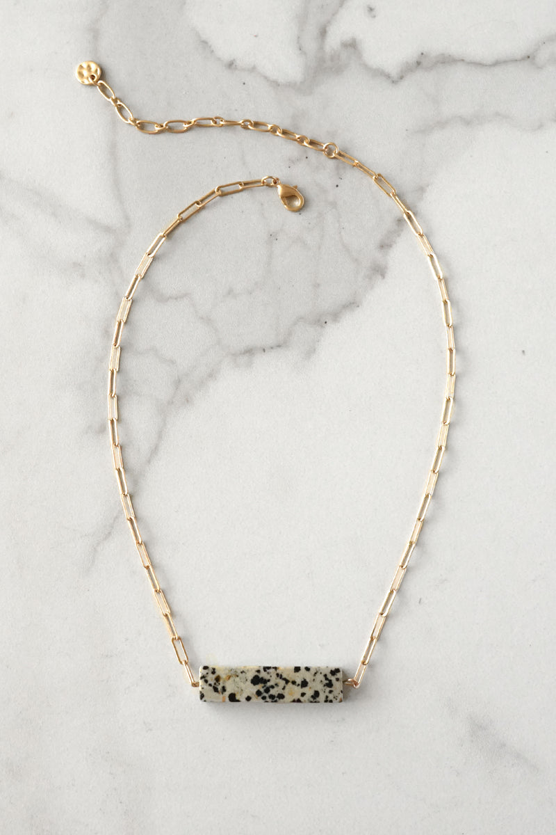Semi Precious Dalmatian Bar Minimal Gold Tone Necklace