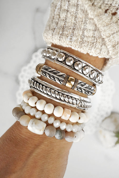 Beaded Bracelets Set Chunky Neutral Beads