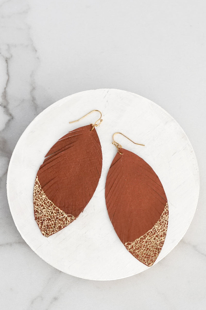 Gold Dipped Leather Brown Leaf Earrings
