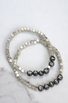 Walk By Faith Beaded Bracelets Set in Silver Tone