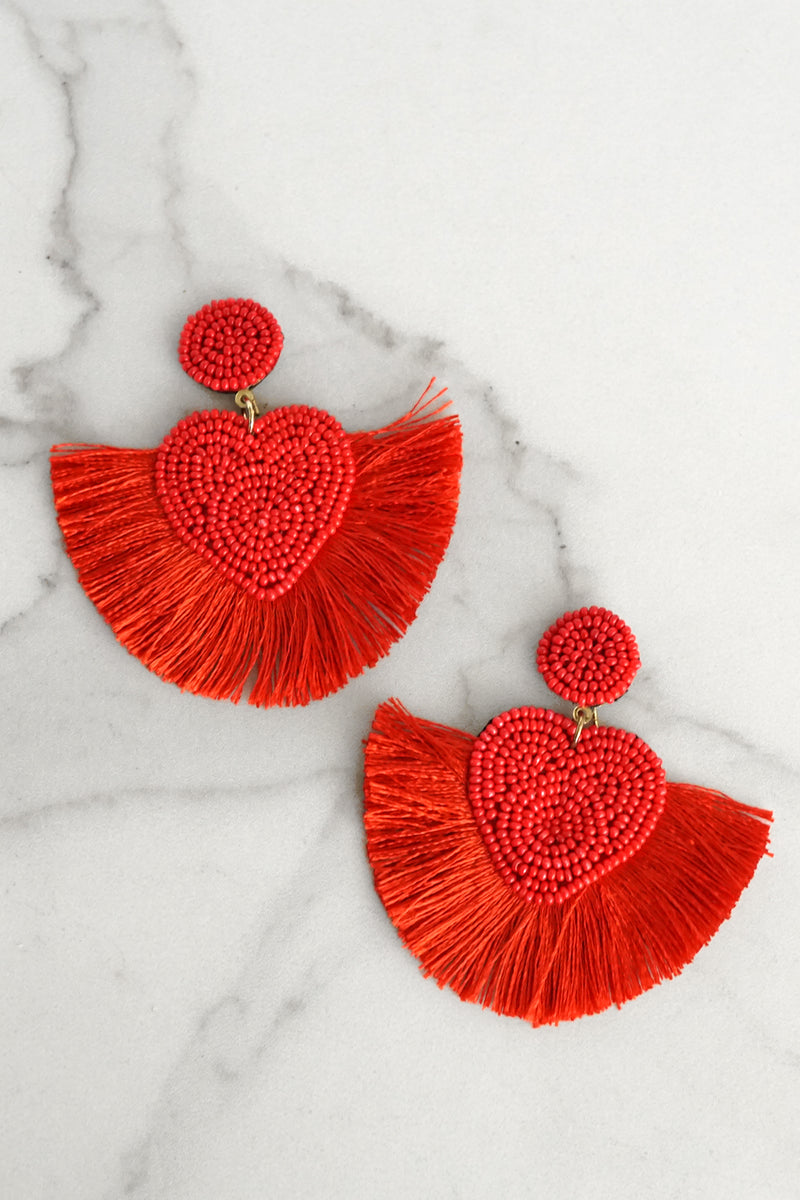 Red Heart Fringe Statement Earrings