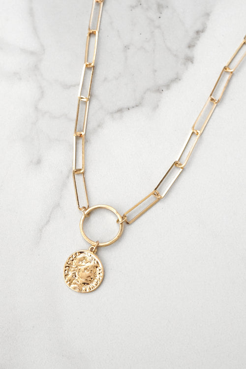 Minimal Gold Tone Necklace with Coin