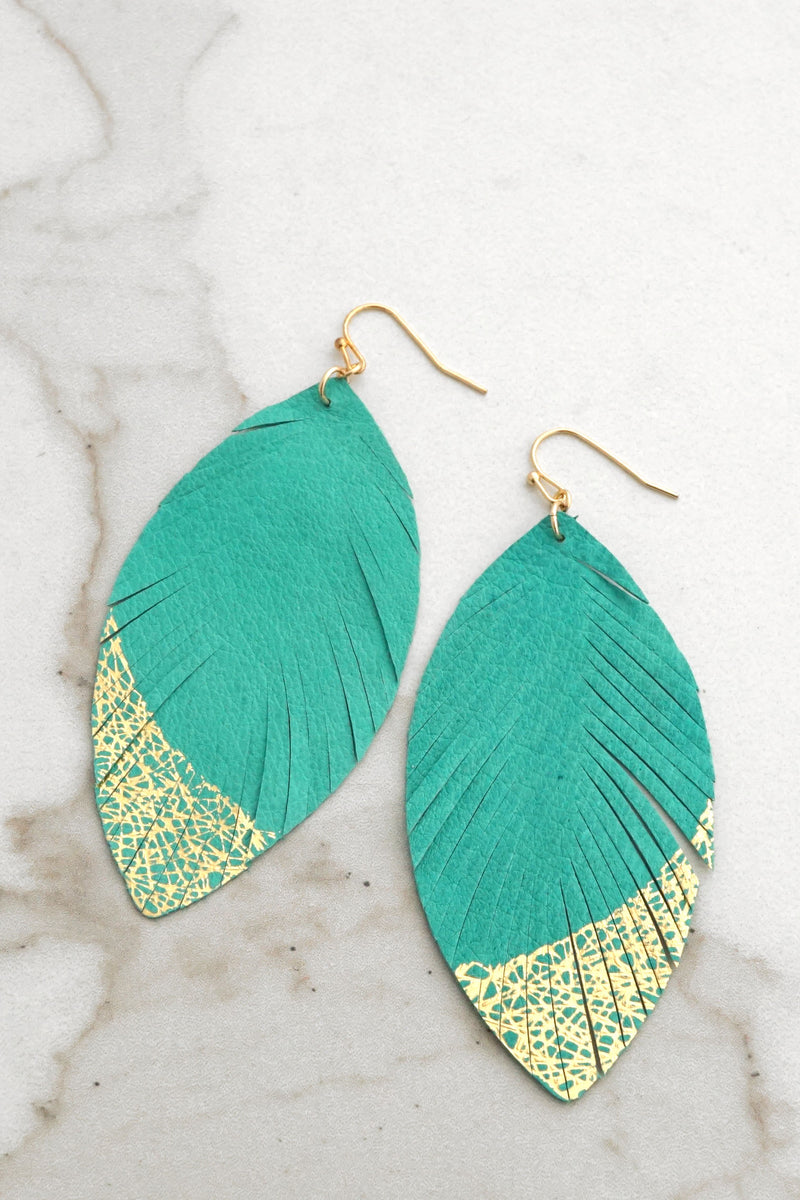 Gold dipped leather turquoise leaf earrings