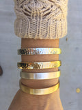 Bar and Rope Cuff Bracelet - Hammered Gold Tone Finish