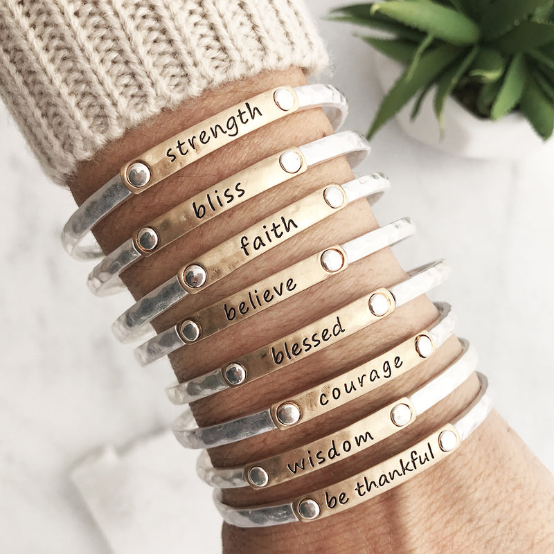 Inspiration Words Stacking Bangles - Silver Tone