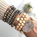 Stretchy Bracelet sets - wooden beads, sliced stone - Natural