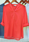 Solid Light Cotton Tunic Shirt - Coral