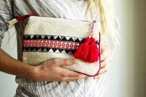 Boho Clutch in Red, Black, and Gold