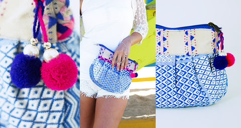 Boho Clutch in Blue and White