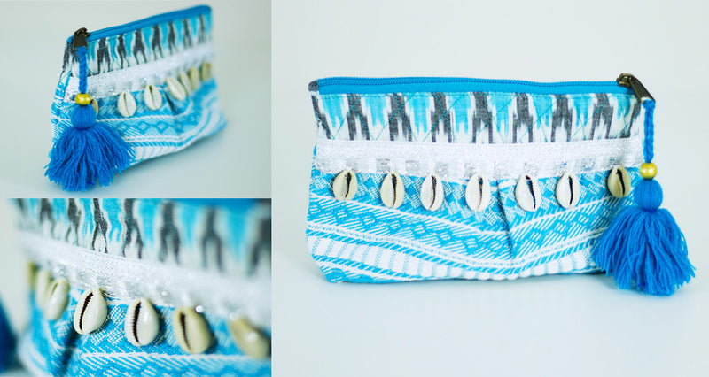 Mermaid mini Clutch in Turquoise and White with seashells