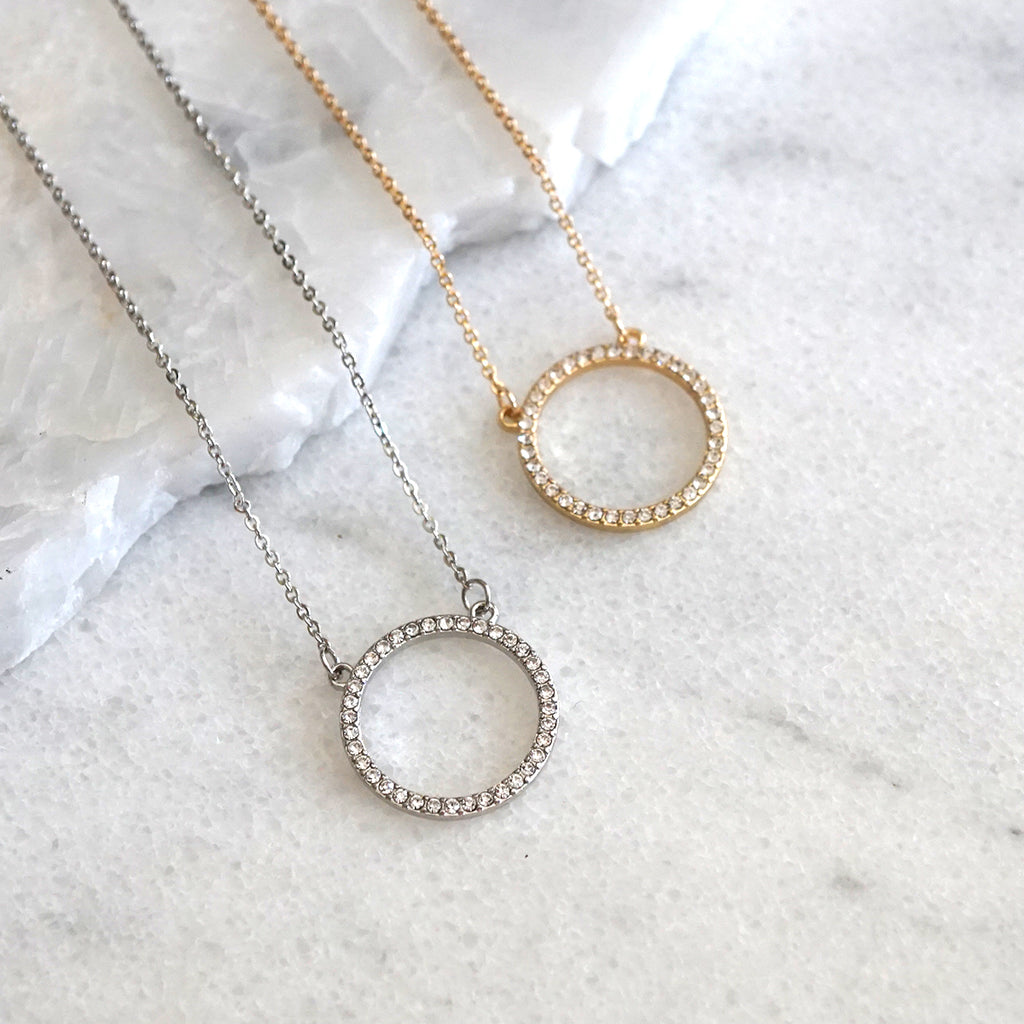 Delicate Crystal Circle Necklace