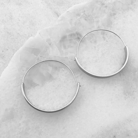 Flat Hoop Earrings - Silver Tone