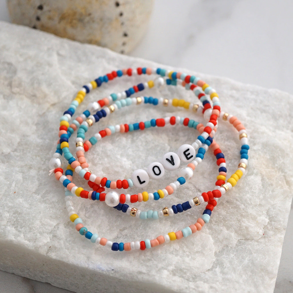 LOVE - multi color seed beads bracelet set