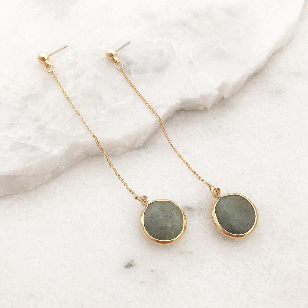 Long Dangle Earrings in Gold