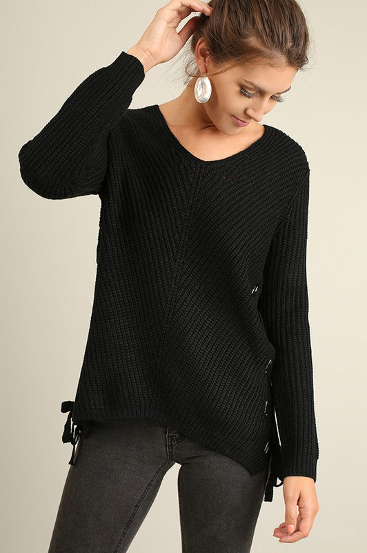 Sweater Long Sleeve with Side Drawstrings - Black