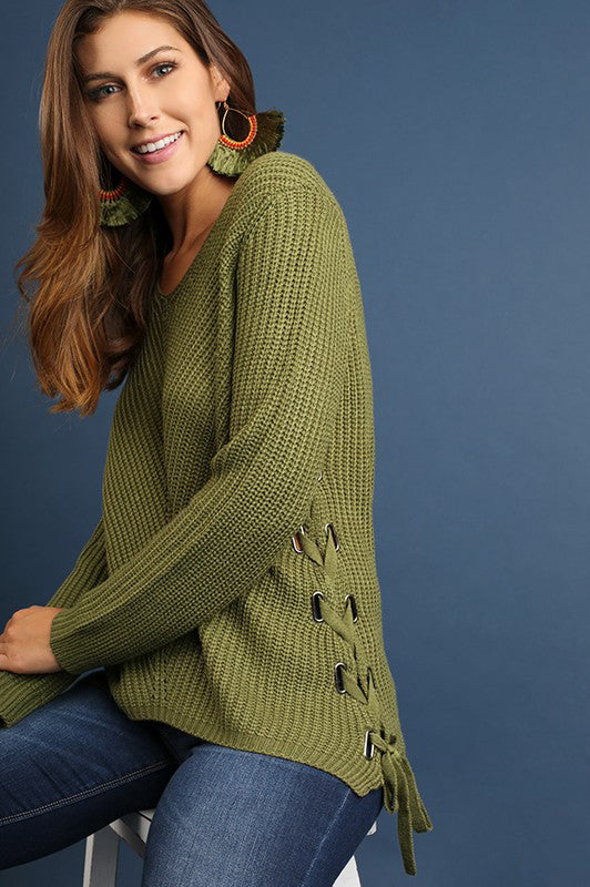 Fall Sweater Long Sleeve with Side Drawstrings - Olive