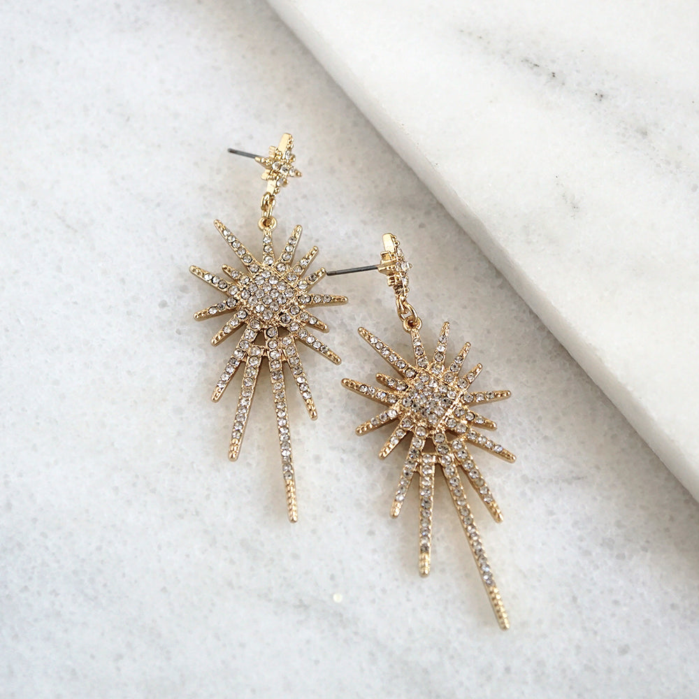 Starburst Statement Earrings in Gold