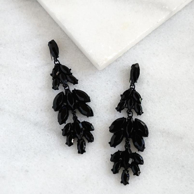 Black drop evening earrings