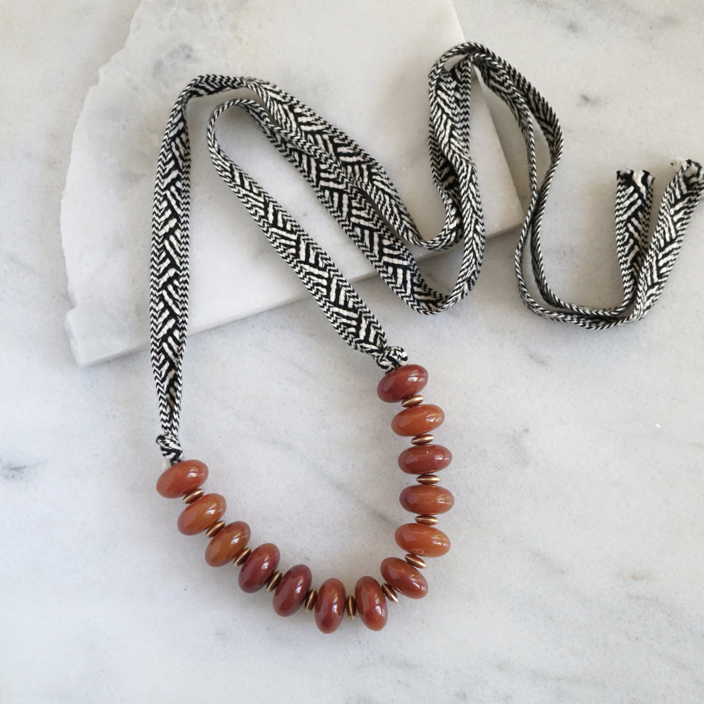 Tie back bohemian necklace with chunky acetate amber beads