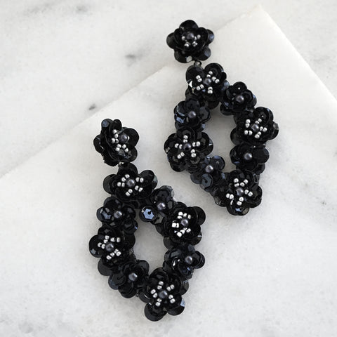 Floral Sequin Statement Earrings in Black