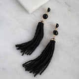Beaded tassel earrings in black
