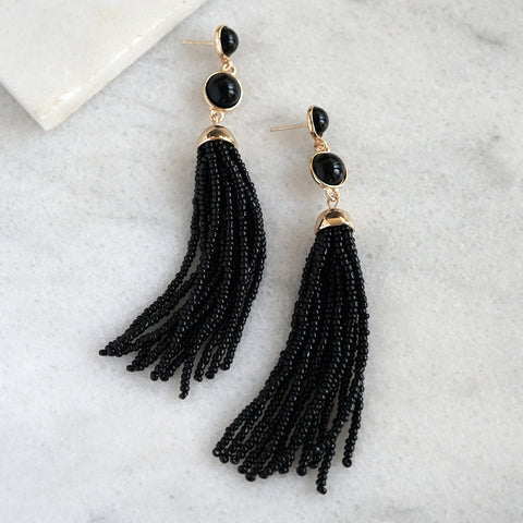 Beaded Fringe Earrings - Burgundy