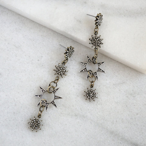Starburst Statement Earrings in Burnished Silver