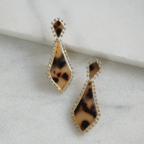 Paved Resin Tortoise and Rhinestone earrings