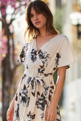 Bohemian Ivory Floral Wrap Hi-Lo Dress