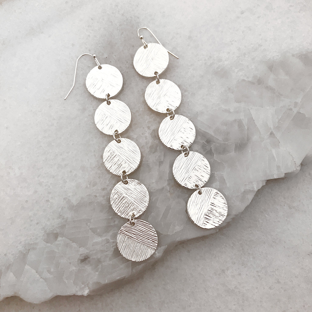 Circle Disc Long Earrings - Silver