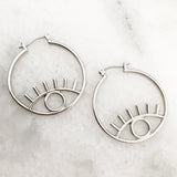 Eye Hoop Earrings - Silver Tone