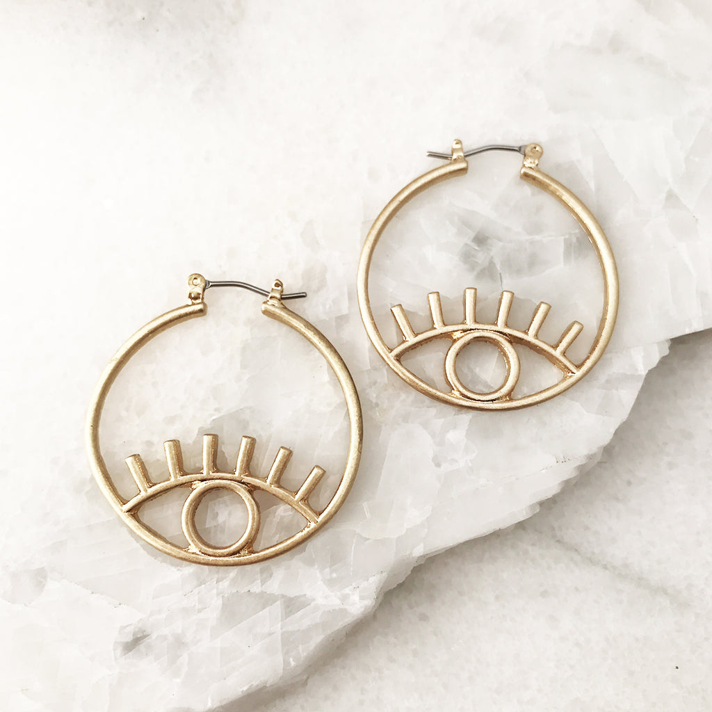 Eye Hoop Earrings in Gold Tone
