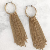 Fringe Hoops Earrings in Worn Gold Tone