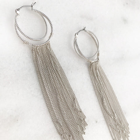 Fringe Hoops Earrings in Worn Silver Tone