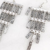 Chandelier Fringe Earrings in Worn Silver Tone