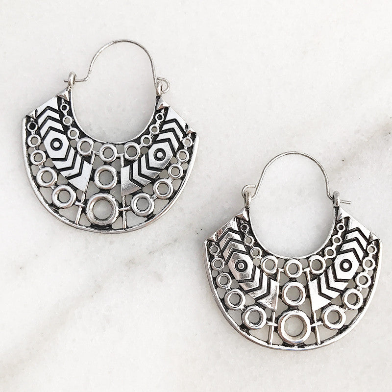 Aztec inspired Hoop Earrings in Worn Silver Tone