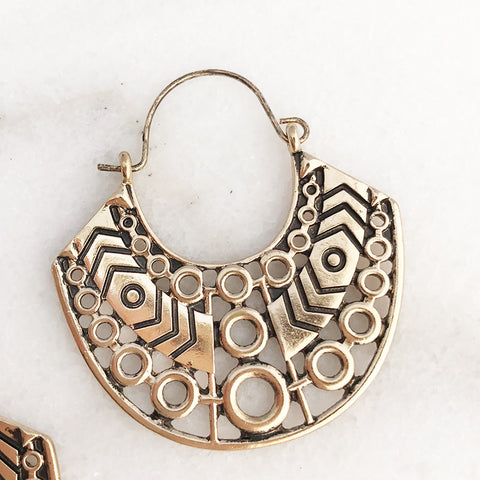 Aztec inspired Hoop Earrings in Worn Gold Tone